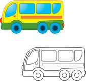 Bus toy. Coloring book — Vecteur