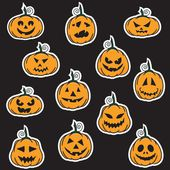 Halloween pumpkin stickers — Stock Vector