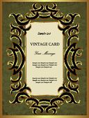 Green with gold vintage card — Stok Vektör