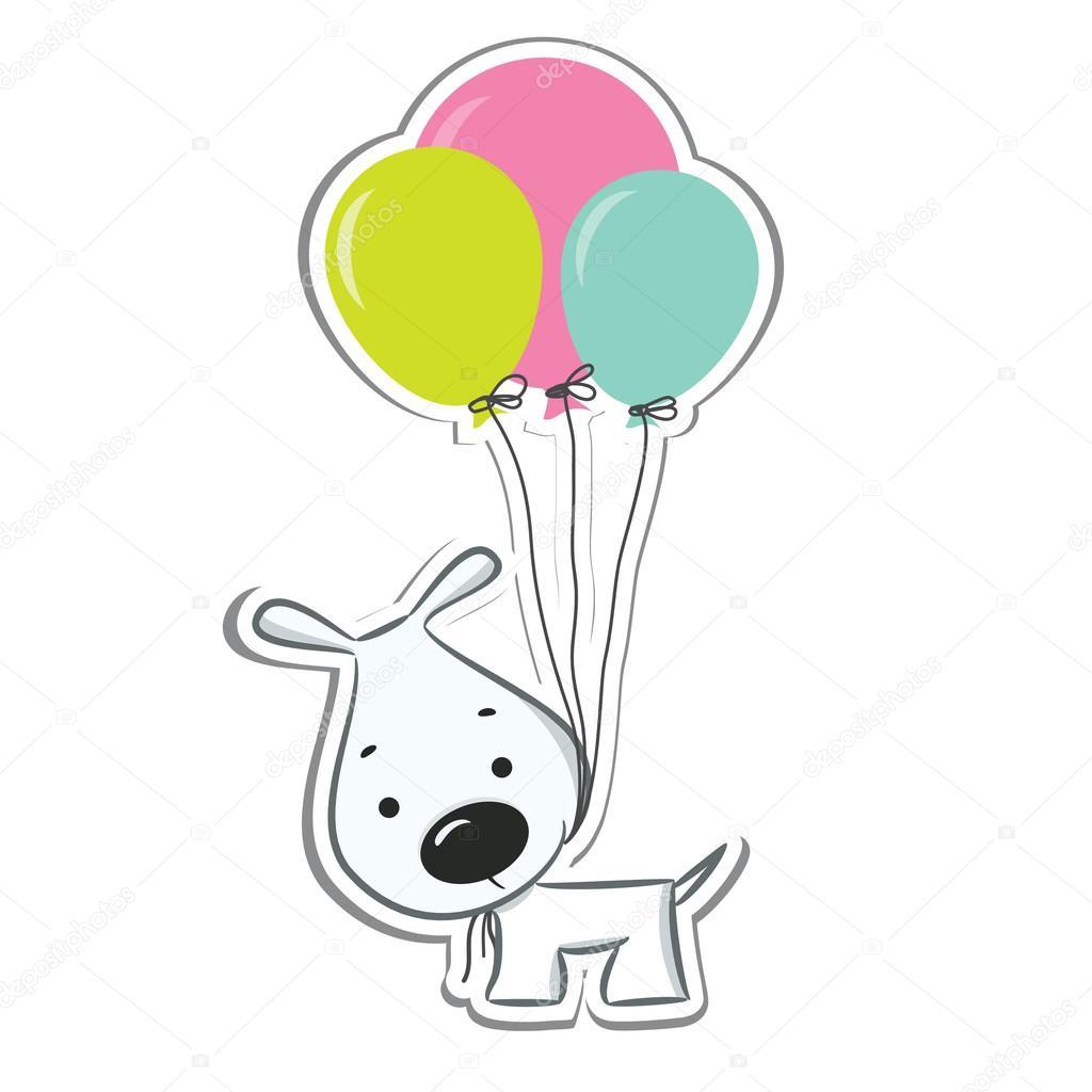 Cane simpatico cartone animato con palloncini — vettoriali