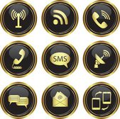 Round golden buttons with communication icons — Stock Vector