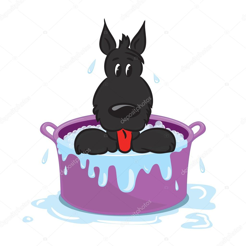 滑稽的小狗在洗澡 — 图库矢量图像08