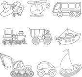 Kreskówka transportu. Kolorowanka. — Wektor stockowy