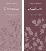 Set of floral invitation cards — Stock Vector