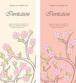 Cartões de convite floral lindo — Vetor de Stock
