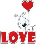 "Dog with the heart on the red word ""love"" — Stock Vector"