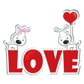 Funny dogs' couple in love — Stock Vector