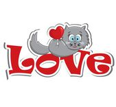 A cute cat with heart — Stock Vector