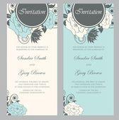 Beautiful floral wedding invitations — Stock Vector