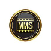 Mms icon on the black with gold round button — Stok Vektör