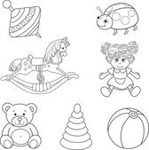 Set of outlined baby's toys elements — Stock Vector