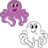 Cartoon octopus. Coloring book — Stock Vector
