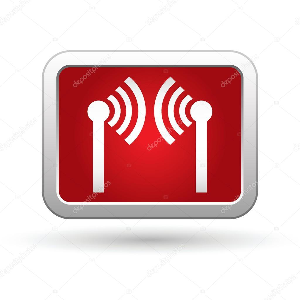 无线图标上的红色与银色的矩形按钮