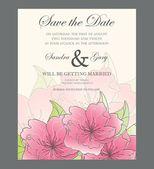 Květinové uložit data svatební pozvánky šablony — Stock vektor