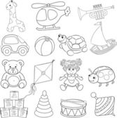 Baby's toys set. Outlined — Stock Vector