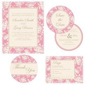 Beautiful vintage wedding invitation cards set — Stock Vector