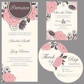Beautiful vintage wedding invitation cards set — Wektor stockowy