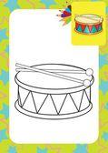Trommel und drumsticks — Stockvektor