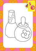 Toy perfume bottles. Coloring page — Stock Vector