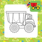 Dump truck toy.Coloring page — Stock Vector