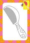 Cartoon comb. Coloring page — Stock Vector