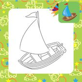 Sailboat. Coloring page — Stock Vector