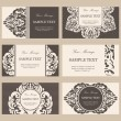 Set of six floral vintage business cards, invitations or announcements — Stock Vector #45298639