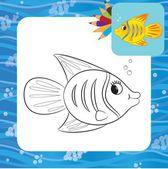 Cartoon fish. Coloring page — Stock Vector