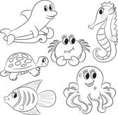 Set of outlined cartoon sea animals — Stock Vector