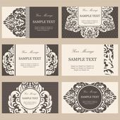 Set of six floral vintage business cards, invitations or announcements — Stock Vector