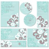 Set of wedding invitation cards (invitation, thank you card, RSVP card, save the date, reception) — Stock Vector