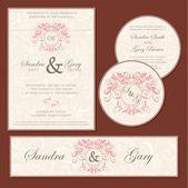 Set di cartoline invito matrimonio — Vettoriale Stock