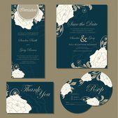 Düğün davetiye kümesi — Stok Vektör