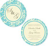 Vintage round, double-sided floral wedding invitation card — Stock Vector