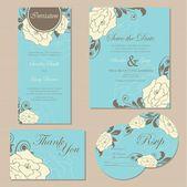 Çiçek düğün davetiye kümesi — Stok Vektör