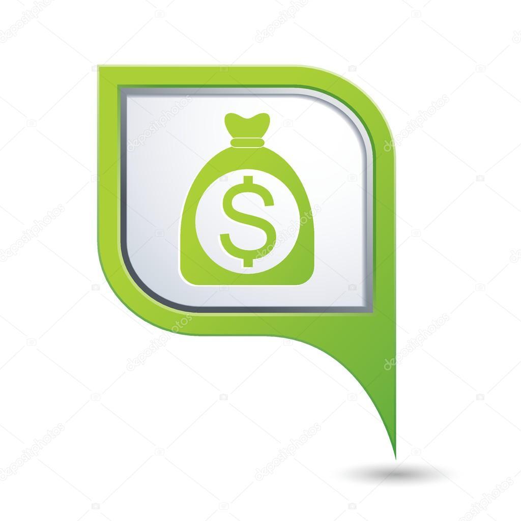 绿地图与钱袋子和美元图标指向的指针.矢量图
