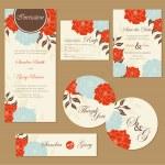 Set of vintage floral wedding invitation cards. — Stock Vector #46807181