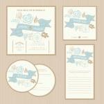 Set of vintage floral wedding invitation cards. — Stock Vector #46807283