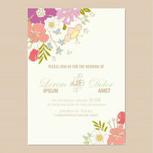 Wedding invitation  card with  flowers. — Stock Vector