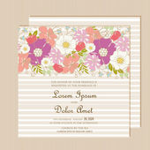 Wedding invitation card with  floral element. — Stock Vector