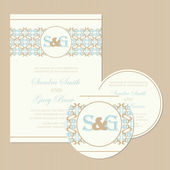 Set of vintage wedding invitation cards. — Stock Vector