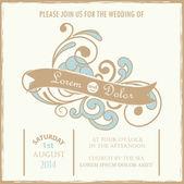 Vintage wedding invitation card. — Stock Vector