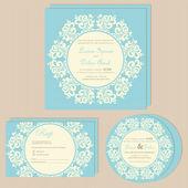 Mavi düğün davetiye kartları seti. — Stok Vektör