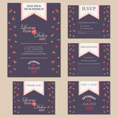 Set of wedding invitation cards with hearts — Stock Vector
