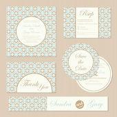 Set of vintage wedding invitation cards. — Vettoriale Stock