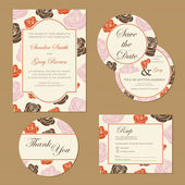 Set of  floral wedding invitation cards with roses. — Stock Vector