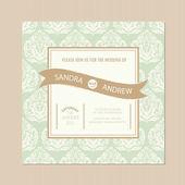 Beautiful vintage wedding invitation card — Stock Vector