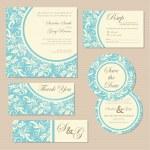 Set of vintage floral wedding invitation cards. — Stock Vector #46817411
