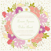 Wedding invitation card with floral frame. — Vettoriale Stock