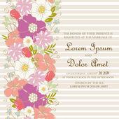Pozvánka na svatbu s květinovými prvkem. — Stock vektor